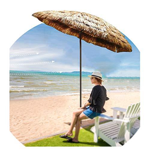 Aly Ombrellone da Spiaggia Hawaii in Paglia Sintetica Ø 180cm Parasole Finta Paglia ombrellone da Spiaggia(inclinazione, Naturale)