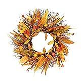 2 coronas de hojas de arce otoñal, coronas de Acción de Gracias para puerta delantera, corona de girasol artificial, para colgar en la pared, para colgar en la puerta frontal de la cosecha de otoño