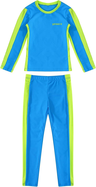 inhzoy Kids Boys Girls Sun Protection Full Cover Rush Guard Swimwear Bathing Suit Athletic 2 Pcs Sportwear