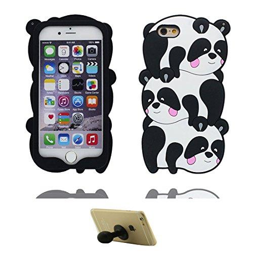 iPhone 7 Carcasa, Funda para iPhone 7 4.7', Animal de Dibujos Animados de Forma de Goma 3D Suave de Silicona Case a Prueba de Golpes y Soporte lechón Dibujos Animados 3D Tres Pandas