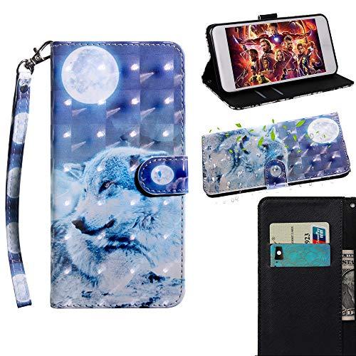 JARNING Kompatibel mit Sony Xperia XA1 Ultra/G3226 G3212 G3223 G3221 Hülle Leder Schutzhülle 3D Painting Wallet Tasche Flip Hülle mit Magnetverschluss Kartenfach für Sony Xperia XA1 Ultra(Wolf)