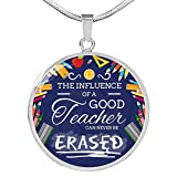 Express Your Love Gifts The Influence of a Good Teacher, Teacher Appreciation Gift, Circle Pendant Neckl