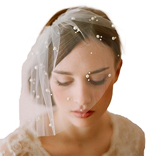 1pc Elegant Ivory Bridal Birdcage Bridal Veil with Pearls and Comb One Size Best for Bride