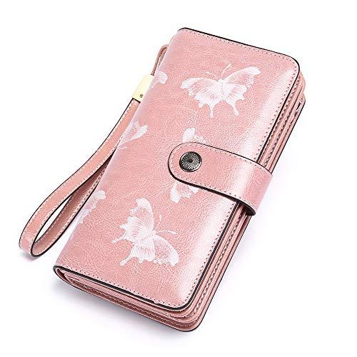 SENDEFN Fashion Genuine Leather Women RFID Blocking Multi Card Organizer Wallet para Mujer Monedero (Rosa)
