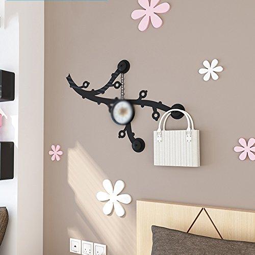 NAN Porte-manteau Plum Blossom Iron Wall Hanging peut être superposé Decoration Hook Up Bedroom (Couleur : Noir)