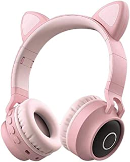Cat Ear Wireless Headphones, Lesgos Leather Earmuffs Prevent Noise, LED Light Up Volume Limiting Kids Safety Foldable On-Ear Headphones Support FM Radio/TF Card Compatible With Smartphones PC Tablet