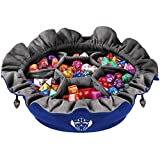 CardKingPro Immense Dice Bags with Pockets - Blue - Capacity 150+ Dice - Great for Dice Hoarders [Patented Design]