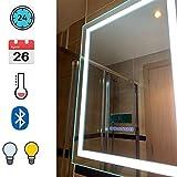 Turefans Espejo de baño,Audio Bluetooth, Pantalla LCD (Fecha, Hora, Temperatura), antivaho, Dos Colores claros (Blanco frío/Blanco cálido), 60 * 80 cm