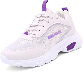 KINDOYO Womens Trainers - Mesh Lace up Casual Comfort Sports Gym Running Thick Bottom Shoes