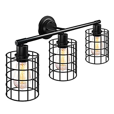 WIHTU Industrial Bathroom Vanity Light Fixtures, 3 Lights Wall Sconce Vintage Metal Cage Style, Black Matte Finish Wall Mounted Farmhouse Wall Light Fixtures, for Mirror Cabinets, Bathroom, Kitchen