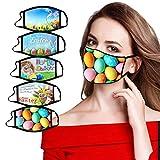 5 Stück Mundschutz Ostern Erwachsene, Lustig Mundschutz Bandanas Waschbar 3D Motiv, Mund und Nasenschutz Stoff Baumwolle Schwarz Atmungsaktiv Multifunktionstuch (A)