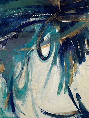 Feeling at home Kunstdruck-auf-GEROLLTE-LEINWAND-cm_86_X_64-jardine-Liz-Kleber-teal-aqua-weiße-Cr-Abstrakt-Bild-auf-LEINWAND-380gr-100%-Baumwolle