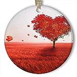 EaYanery Adorno de corazón rojo con forma de árbol (redondo) de cerámica...