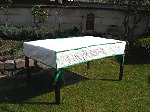 Bâche de protection pour table de jardin rectangulaire exklusiv en tyvek lagerbeutel blanc à court pour dimensions de la table : largeur .90 x 240 cm x h.15 cm