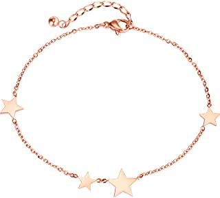CXQ Fashion Simple Personality Five-Pointed Star Rose Gold Anklet Foot Ring Couple Jewelry Accessories Gift