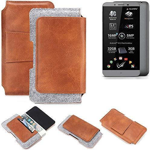 K-S-Trade® Schutz Hülle Für Allview V2 Viper S Gürteltasche Gürtel Tasche Schutzhülle Handy Smartphone Tasche Handyhülle PU + Filz, Braun (1x)