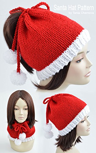 Santa Hat Pattern Christmas Hat Knitting Pattern Pom Pom Hat Knit Christmas Beanie Pattern Festive Beanie Christmas Outfit Womens Hat Knit Hat Xmas Womens ... Festive Hat Holiday Hat (English Edition)