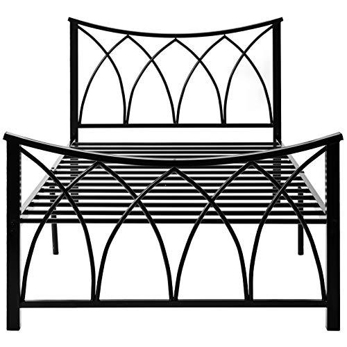Monifuon Moderno marco de cama de matrimonio de 1,2 m (90 x 190 cm), con cabecero para niños, adolescentes y adultos, color negro