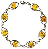"8"" inch/20cm BALTIC AMBER AND STERLING SILVER 925 LADIES  DESIGNER COGNAC BRACELET JEWELLERY JEWELRY"