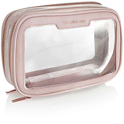 Clear Travel Makeup Bag Organiser - Small Cosmetic Case Portable Airport Toiletry Bag by Lily England - Pink