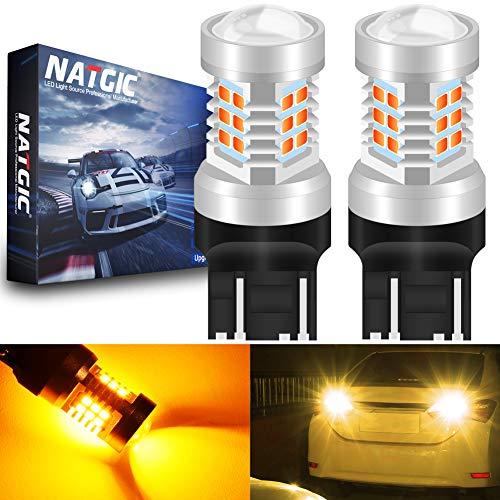 NATGIC 7443 7444NA 7441 992 T20 Ampoules LED Amber 21 - EX 2835 SMD avec projecteur pour objectifs pour Feux de recul de Clignotants de Frein, 10-16V 10,5W (Pack de 2)