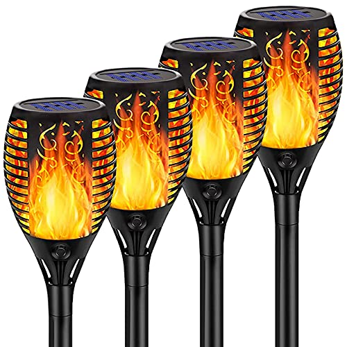 Samerd Solar Torch Lights Outdoor (Upgraded),4-Pack Ultra-Bright Solar Tiki Torches with Flickering Flame,Waterproof Landscape Decoration Lighting Auto On/Off Pathway Lights for Garden Patio Driveway