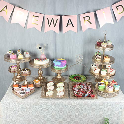 12 Set Cake Stands Iron Cupcake Holder, Retro Pastry Trays Fruits Dessert Display Plate White For Baby Shower Wedding Birthday Party Celebration Home Decor Serving Platter