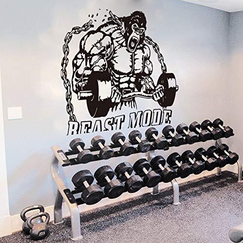 Gimnasio Fitness Deportes Modo bestia Msculo Gorila enojado Orangutn King Kong Barbell Etiqueta de la pared Calcomana de vinilo Entrenamiento Bodybuilding Club Decoracin para el hogar Mural