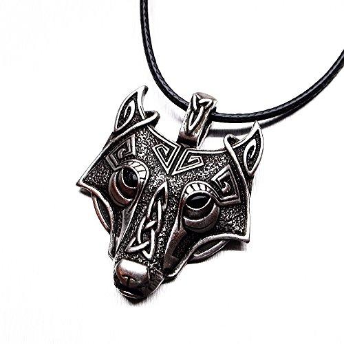 Collar con colgante vikingo de cara de lobo, de plata envejecida, hecho a mano.