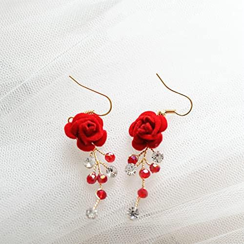wuxia Diadema de flores rojas para el pelo, con hojas doradas, accesorios para el cabello, peineta de diamantes de imitación hecha a mano con flores (color de metal: pendiente)