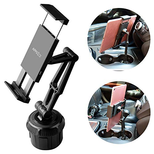 APPS2CAR Universal Tablet Auto Getränkehalter Halterung mit / verstellbarem langem Arm [2 in 1] für 7-11 Zoll iPad / Android Tablet & Handy