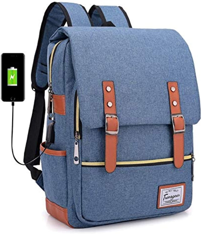 Bjzxz USB Interface Charging Smart Backpack New Canvas Men's Backpack Waterproof Student Bag Computer Bag