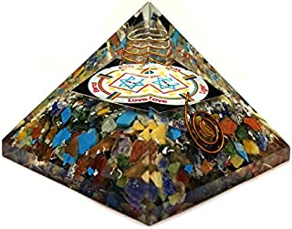 Mix Chakra Orgonite Pyramid Wholesale UK, Orgonite Pyramid for Sale, Orgonite Copper Pyramid Full of Chakra Balancing and Crystals and Stones with Elements of Life Water, Earth, air, Fire