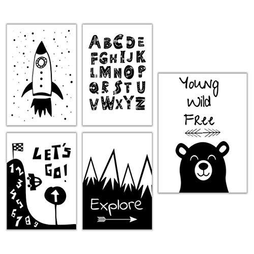 ELAFI® 5er-Set Poster für Kinderzimmer A3 & A4 ohne Bilderrahmen | Kinderposter im Skandinavischen Stil | Babyposter für Babyzimmer | Bilder Für Mädchen