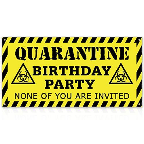 Quarantine Birthday Banner (Yellow) Quarantine Birthday Party Decorations Quarantine Birthday Backdrop Quarantine Birthday Funny Poster Decor Stay Home Party Sign
