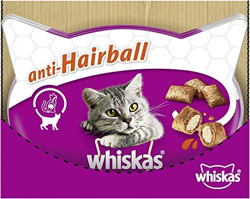 Whiskas Anti–Hairball – Köstliche Katzensnacks Anti–Hairball mit Huhn – Kalorienarme Leckerlis mit Huhn – Vorratspack mit 6 Packungen x 72g