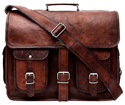 "Handmade World Leather Messenger Bag 16 Inch Brown Air cabin Briefcase Leather Cross body Shoulder Large Laptop School bag (12"" X 16"")"