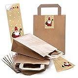 10Sacs papier bruns de cadeau Sacs avec fond (motifs Noël 18x 8x 22cm) petites poches Papier avec bandeau coloré autocollants de Noël saint nicolas Santa