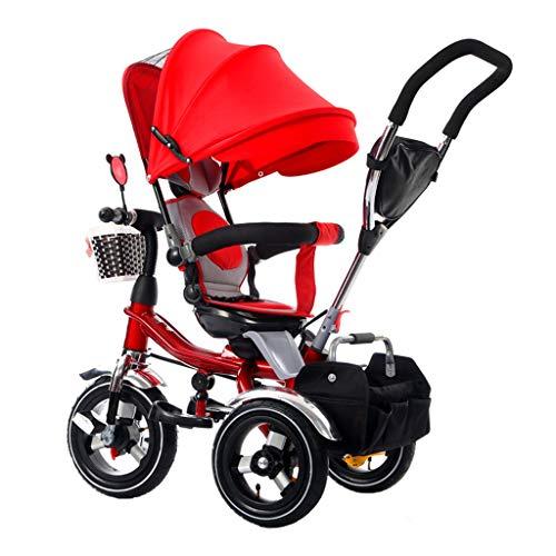Poussette pliante à poussoir pliant pour enfants 4-en-1 avec siège pivotant et harnais de sécurité Baby Trike pour 6 mois à 5 ans rouge