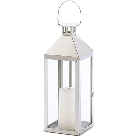 Gifts /& Decor Silver Hurricane Hanging Candle Holder Lantern
