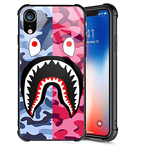 iPhone XR Case, Street Fashion Cool Designer Slim Tempered Glass Back Cover + Soft Silicone TPU Bumper Shock Absorption Anti Scratch Camo Protective Case for iPhone XR 6.1inch (Blue Pink Shark)