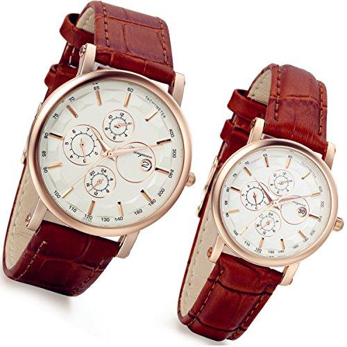 Lancardo Montre à quartz pour couple avec bracelet en cuir synthétique, 3 sous-cadrans, fonction calendrier, étanche, romantique, marron (1 paire)