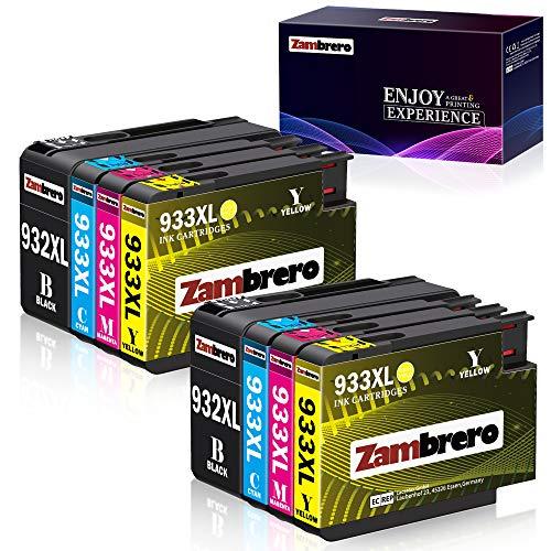 Zambrero 932 933 XL Ersatz für HP 932XL 933XL Multipack Druckerpatronen Hohe Kapazität Kompatibel mit HP Officejet 6600 6700 7510 7612 6100 7110 7610 Drucker (2BK, 2C, 2M, 2Y)