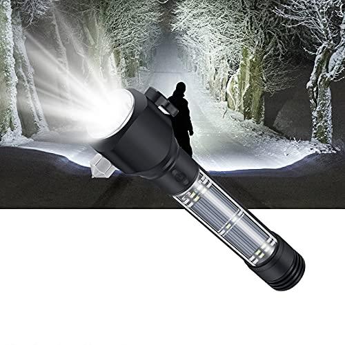 Torcia LED Potente Professionale con la Funzione di Ricarica Solare, può Caricare il Telefono Cellulare, con una Bussola, un Avvisatore Acustico, una Lama e un Martello per Finestre Rotto