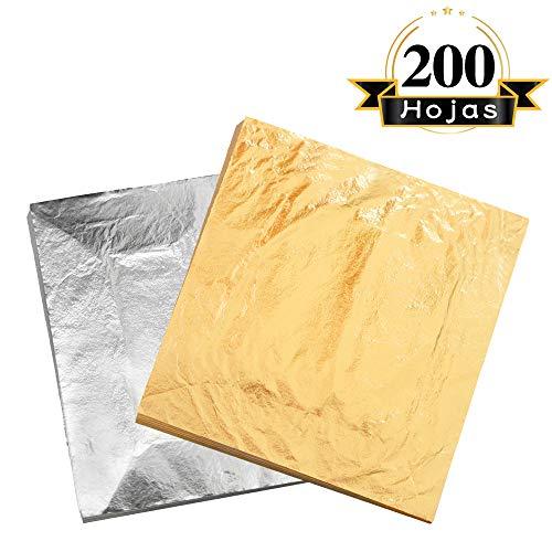 VGSEBA Pan de Oro de Imitación 200hojas 14cm(5.5´´) para Lámina Dorada para Dibujos Artesanías Manualidades Uñas Muebles (Dorado y Plateado)
