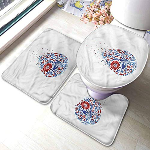 Easter Bathroom Rug Set 3 Pieces, Extra Soft Memory Foam Bath Mats Oriental Flowers Ornament Contour Mat and Lid Cover