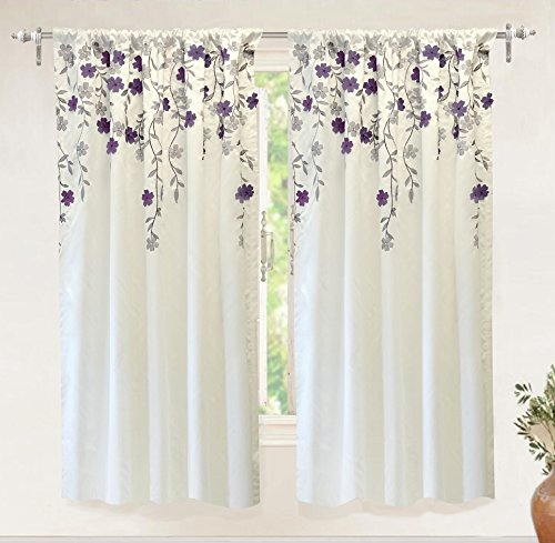 DriftAway Isabella Faux Silk Embroidered Window Curtain Embroidered Crafted Flower Lined with Thermal Fabric Single Panel 50 Inch by 63 Inch Ivory Purple