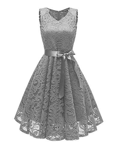 Laorchid Knielang cocktailkleid festliches Kleid a Linie Elegante Sommerkleid Damen Vintage Spitzenkleid Retro v Ausschnitt Kleid Spitze Grau S