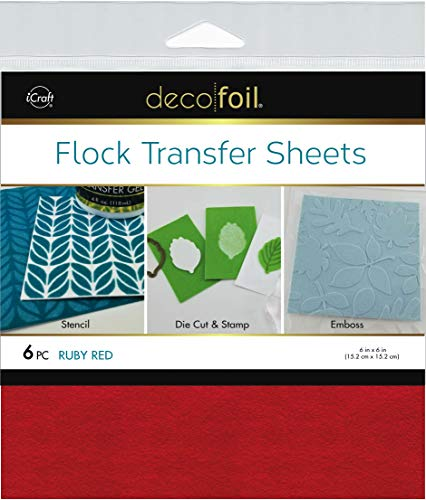 "Deco Foil Flock Transfer Sheets 6""X6"" 6/Pkg-Ruby Red"