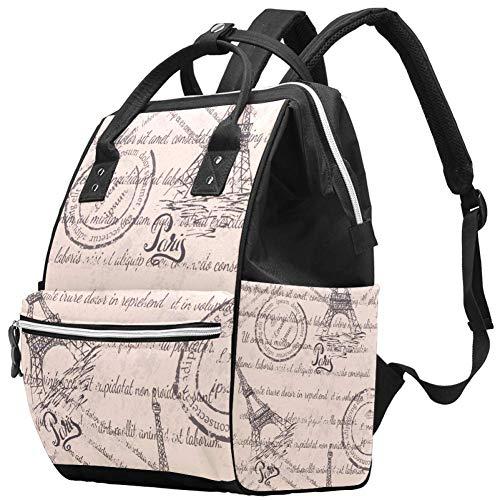 TIZORAX Eiffel Tower Letter Paris Stamp Grande Capacité Nappy Backpack Baby Diaper Bag Rucksack Travel Bag for Mums Dads